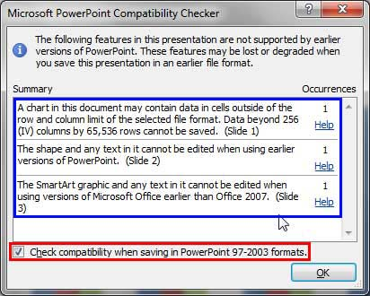 Microsoft PowerPoint Compatibility Checker dialog box