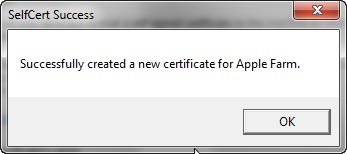 SelfCert Success window