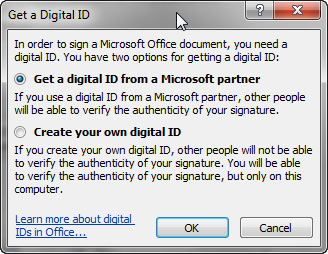 Get a Digital ID dialog box