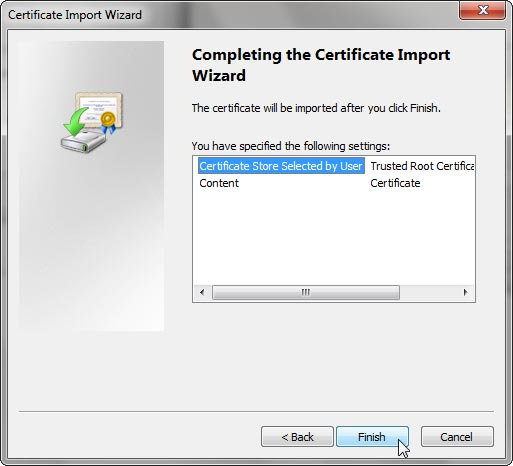 Final screen of the Certificate Import Wizard