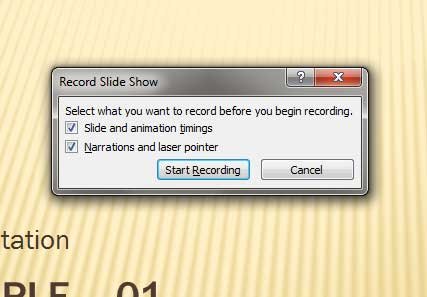 Record Slide Show dialog box