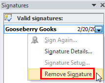 Selected signature's drop-down list