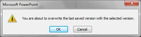 Microsoft PowerPoint message window