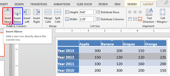 Add and remove table rows columns in powerpoint 2013 for for Html table row