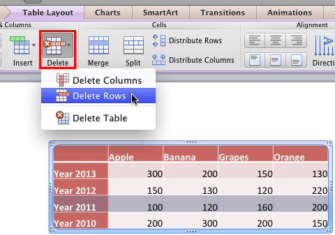 Delete a row within a table