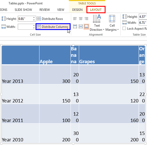 Distribute Columns button within the Table Tools Layout tab