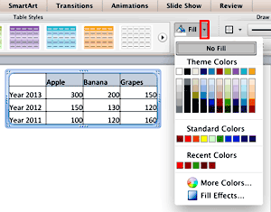 Fills and Effects for Tables in PowerPoint 2011