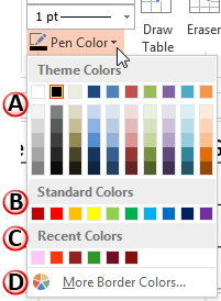 Pen Color drop-down gallery