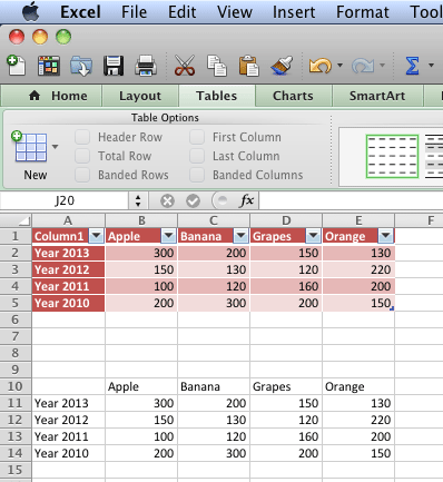 An Excel Table, or simple content both are useable