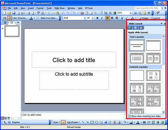 Slide Layout task pane in PowerPoint 2003