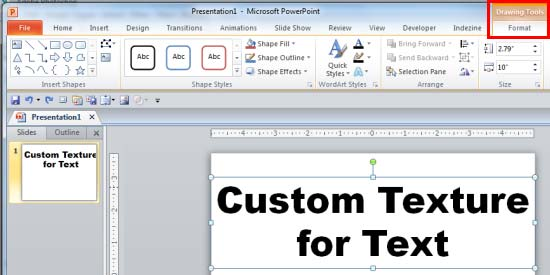 using custom textures as fill for text in powerpoint 2010