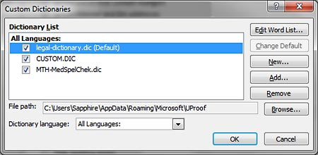 Suffixed word Default indicates the default dictionary