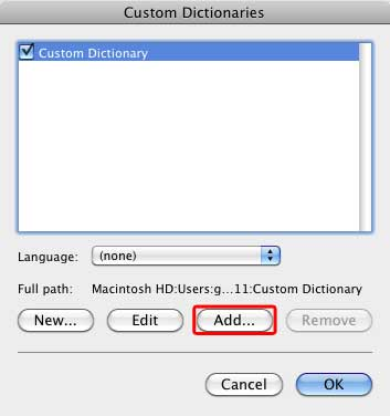 Add button within Custom Dictionaries dialog box
