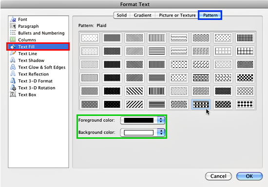 Pattern tab selected within the Format Text Effects dialog box