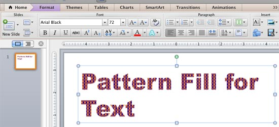 Text with a pattern fill applied