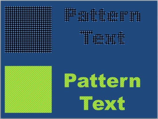 Two examples of Pattern fills for text