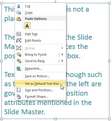Set as default text box in powerpoint 2010 powerpoint tutorials set as default text box option toneelgroepblik Images