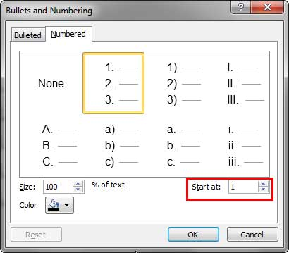 Numbering options within the Bullets and Numbering dialog box