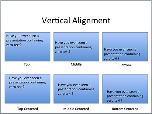 Vertical alignment examples