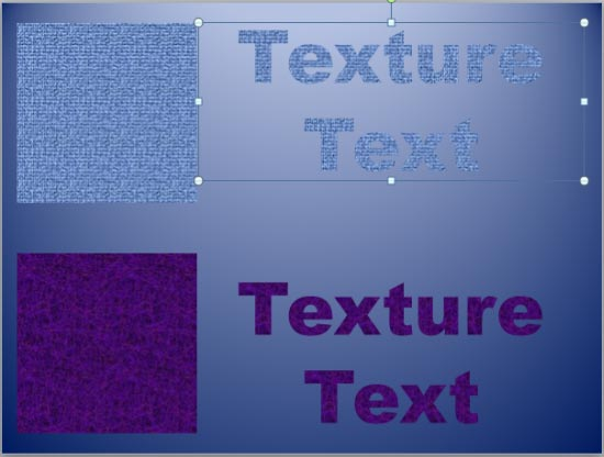 Two examples of Texture fills for text