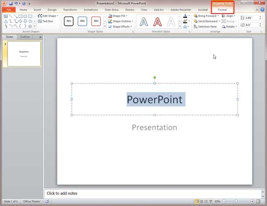 Drawing Tools Format tab of the Ribbon in PowerPoint 2010