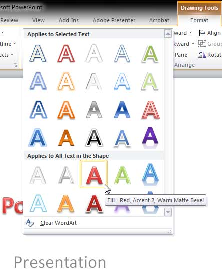 WordArt Style being selected