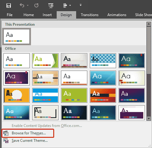 Applying themes in powerpoint word and excel 2016 for windows toneelgroepblik Choice Image