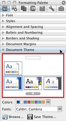 Themes gallery in Microsift Word and Excel