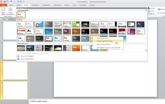Applying themes in powerpoint word and excel 2010 powerpoint applying theme to selected slides toneelgroepblik