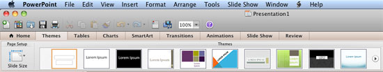 Applying themes in powerpoint word and excel 2011 for mac office themes design tab ribbon in powerpoint toneelgroepblik