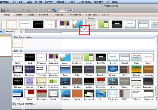 applying themes in powerpoint, word, and excel 2011 for mac, Modern powerpoint