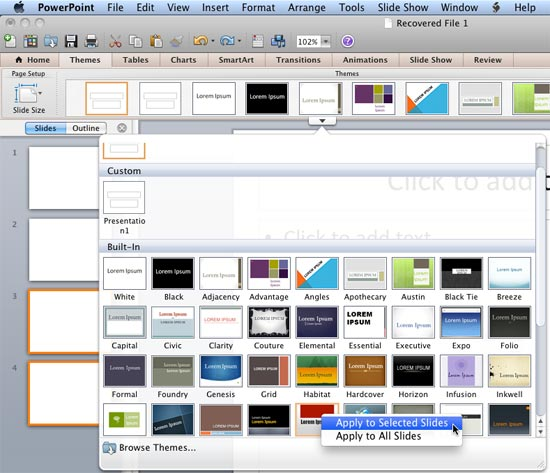 Applying themes in powerpoint word and excel 2011 for mac apply selected slides option toneelgroepblik Images