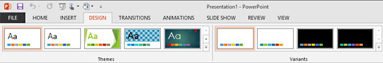 Office Themes: Design tab Ribbon in PowerPoint
