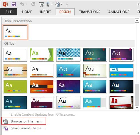 Applying themes in powerpoint word and excel 2013 windows themes drop down gallery toneelgroepblik Choice Image