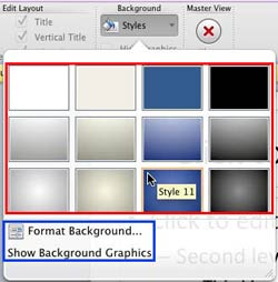 Change Background Styles in the Slide Master in PowerPoint 2011 for Mac