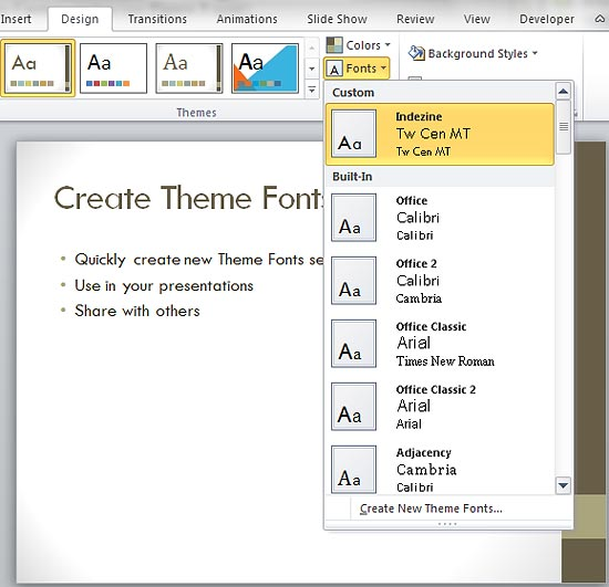 themes in powerpoint 2007