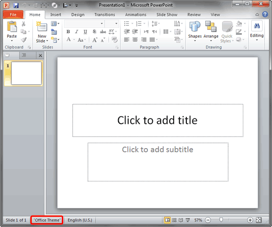 change the default template or theme in powerpoint 2010, Presentation templates