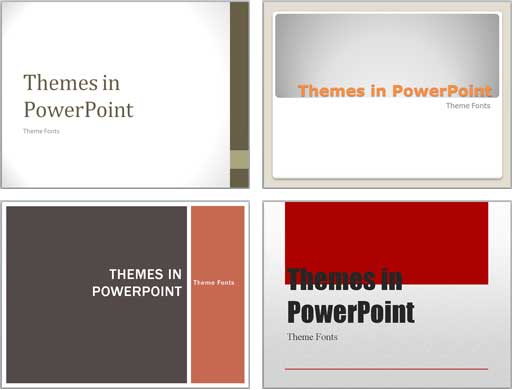 Variations of the same slide with different Themes applied