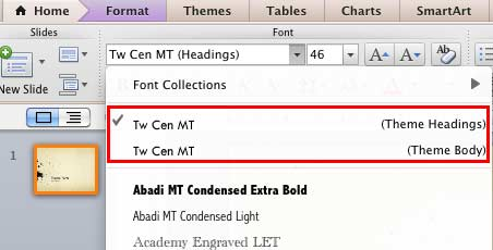 Changed Theme Headings and Theme Body fonts