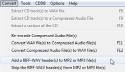 Use CDex to Add WAV Headers to MP3 Files