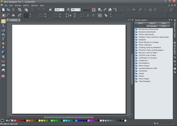 Xara Designer Pro 7 interface
